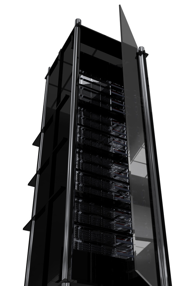 Hosting Tower / Rack. Modern Dark Black Servers Rack with Glass Door